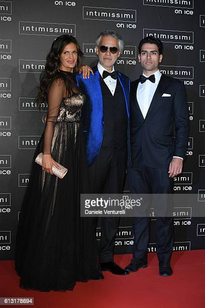 Veronica Berti Andrea Bocelli and Amos Bocelli attend Intimissimi On Ice at Arena on October 7 2016 in Verona Italy