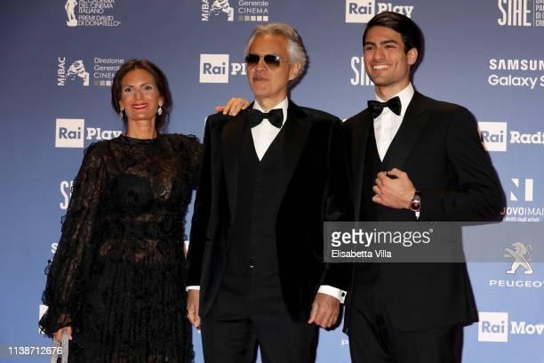 Veronica Berti, Andrea Bocelli and Matteo Bocelli attend the 64. David Di Donatello awards on March 27, 2019 in Rome, Italy.