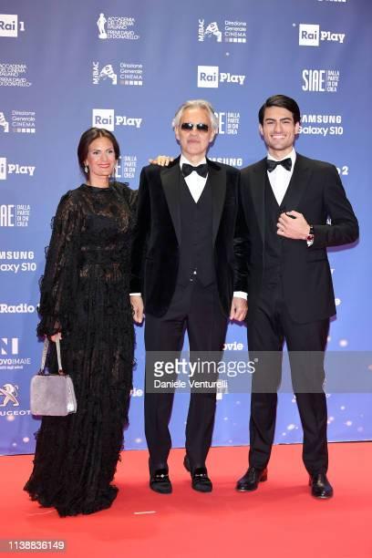 Veronica Berti, Andrea Bocelli and Matteo Bocelli attends the 64. David Di Donatello awards on March 27, 2019 in Rome, Italy.