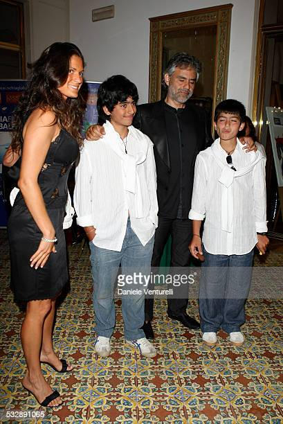 Veronica Berti Andrea Bocelli and sons Matteo and Amos attend day two of the Ischia Global Film And Music Festival on July 10 2007 in Ischia Italy