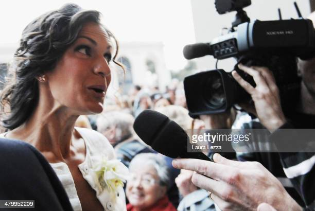 Veronica Berti arrives at Sanctuary of Madonna di Montenero for his wedding with Italian singer Andrea Bocelli on March 21 2014 in Livorno Italy