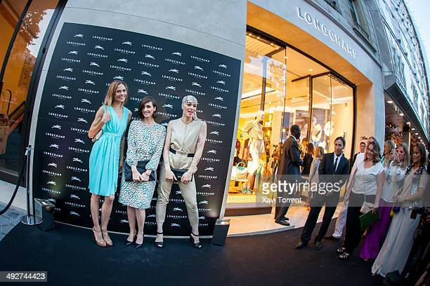 Veronica Blume, Paz Vega and Bimba Bose attend the opening of Longchamp Store at Passeig de Gracia on May 21, 2014 in Barcelona, Spain.