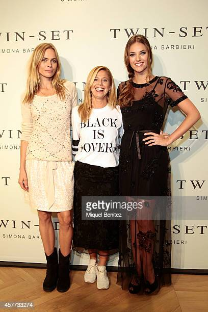 Veronica Blume Simona Barbieri and Helen Lindes attend the TwinSet of Simona Barbieri's store inauguration on October 23 2014 in Barcelona Spain