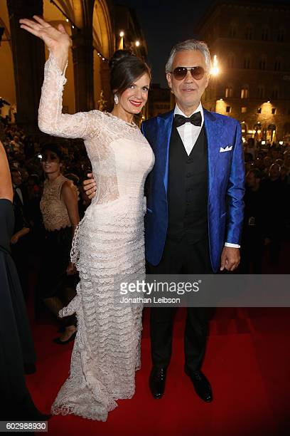 Veronica Bocelli and Andrea Bocelli attend the Celebrity Fight Night gala at Palazzo Vecchio as part of Celebrity Fight Night Italy benefiting The...