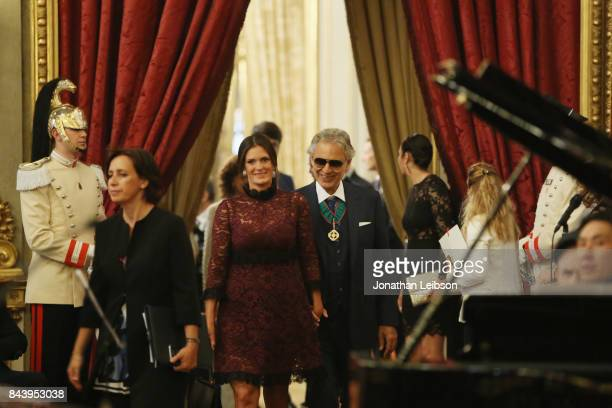 Veronica Bocelli and Andrea Bocelli attend the Tour and Welcome Drinks at Palazzo del Quirinale as part of the 2017 Celebrity Fight Night in Italy...