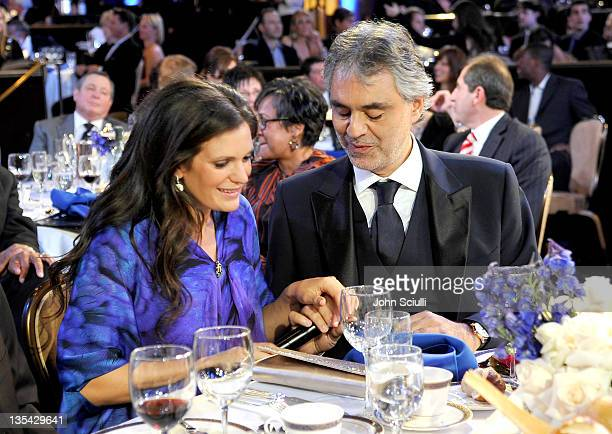 Veronica Bocelli and singer Andrea Bocelli attend the launch of The Andrea Bocelli Foundation at the Beverly Hilton Hotel on December 9 2011 in...