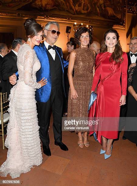 Veronica Bocelli, Andrea Bocelli, Agnese Renzi and Queen Rania of Jordan attend the Celebrity Fight Night gala at Palazzo Vecchio as part of...