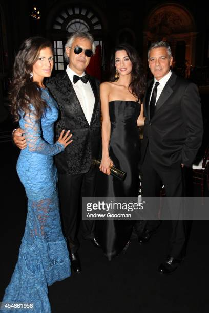 Veronica Bocelli, Andrea Bocelli, Amal Alamuddin and George Clooney attend the Celebrity Fight Night In Italy Benefitting The Andrea Bocelli...