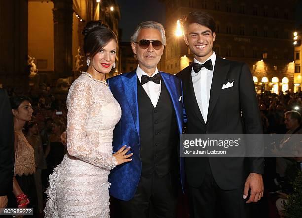 Veronica Bocelli, Andrea Bocelli and Matteo Bocelli attend the Celebrity Fight Night gala at Palazzo Vecchio as part of Celebrity Fight Night Italy...
