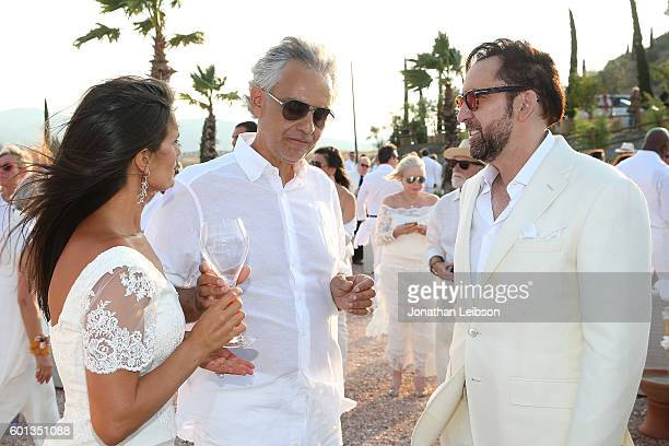 Veronica Bocelli Andrea Bocelli and Nick Cage attend the apertif at the Teatro del Silenzio as part of Celebrity Fight Night Italy benefiting The...