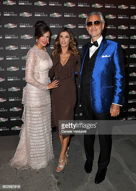 Veronica Bocelli Elisabetta Canalis and Andrea Bocelli attend the Celebrity Fight Night gala at Palazzo Vecchio as part of Celebrity Fight Night...