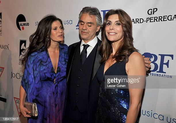 Veronica Bocelli singer Andrea Bocelli and actress Jo Champa attend the launch of The Andrea Bocelli Foundation at the Beverly Hilton Hotel on...