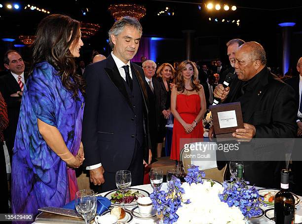 Veronica Bocelli singer Andrea Bocelli and producer Quincy Jones attend the launch of The Andrea Bocelli Foundation at the Beverly Hilton Hotel on...