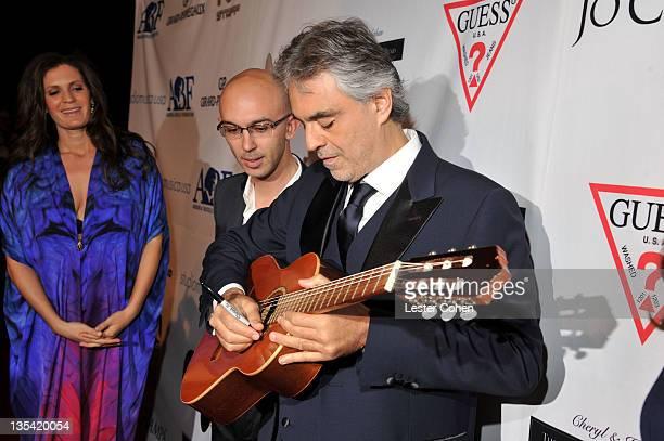 Veronica Bocelli Studiomusica USA Managing Director Marco Marchesi and Andrea Bocelli attend the launch of The Andrea Bocelli Foundation at the...