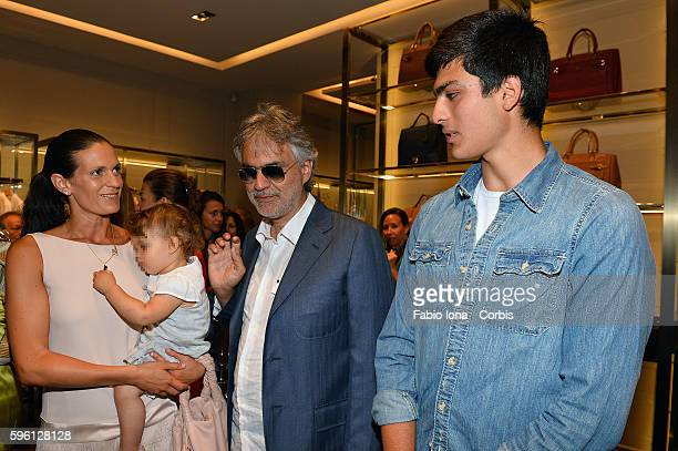Veronica Bocelli Virginia Bocelli Andrea Bocelli and Amos Bocelli attend the Trussardi Cocktail Opening Boutique on June 29 2013 in Forte dei Marmi...
