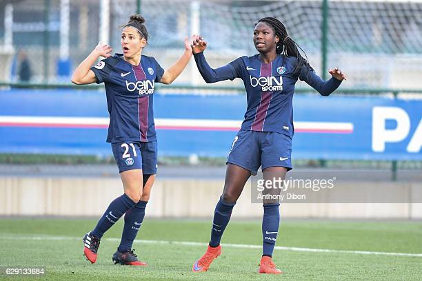 Veronica Boquete and Aminata Diallo of PSG looks dejected during the French Division 1 match between Paris Saint Germain and Juvisy at Camp des Loges...