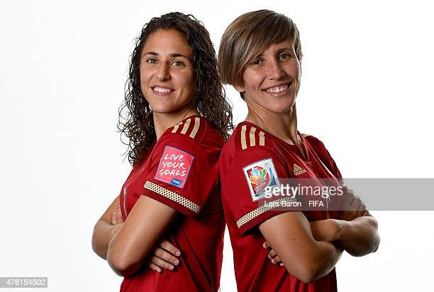 Veronica Boquete and Sonia Bermudez of Spain pose during the FIFA Women's World Cup 2015 portrait session at Sheraton Le Centre on June 6 2015 in...