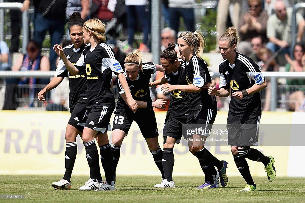 Veronica Boquete of 1. FFC Frankfurt celebrates as she scores the opening goal during the Allianz Frauen-Bundesliga match between 1. FFC Frankfurt and VfL Wolfsburg at Stadion am Brentanobad on May 10, 2015 in Frankfurt am Main, Germany.