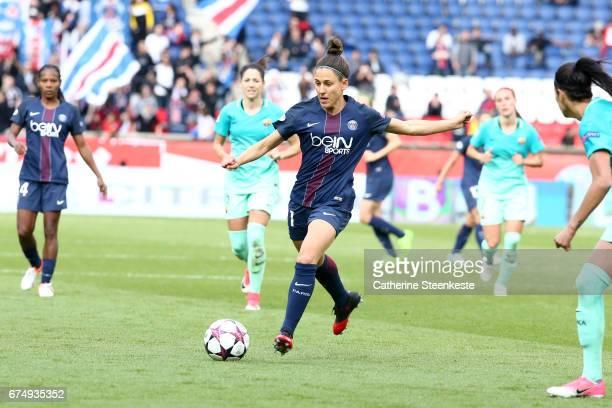 Veronica Boquete of Paris SaintGermain controls the ball during the Women's Champions League match between Paris Saint Germain and Barcelona at Parc...