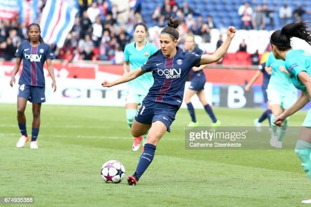 Veronica Boquete of Paris SaintGermain shoots the ball during the Women's Champions League match between Paris Saint Germain and Barcelona at Parc...