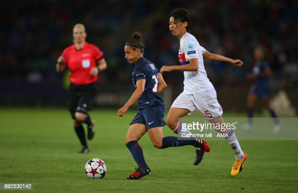 Veronica Boquete of PSG and Saki Kumagai of Olympique Lyonnais during the UEFA Women's Champions League Final match between Lyon and Paris Saint...