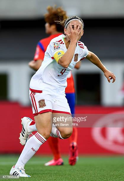 Veronica Boquete of Spain celebrates after scoring her teams first goal during the FIFA Women's World Cup 2015 Group E match between Korea Republic...