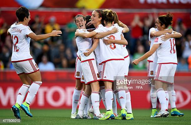 Veronica Boquete of Spain celebrates with team mates after scoring her teams first goal during the FIFA Women's World Cup 2015 Group E match between...