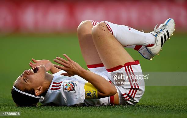 Veronica Boquete of Spain lies injured on the pitch during the FIFA Women's World Cup 2015 Group E match between Korea Republic and Spain at...