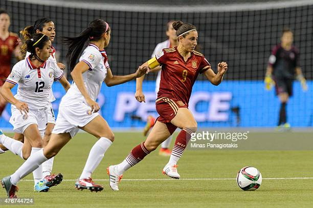 Veronica Boquete of Spain moves the ball during the 2015 FIFA Women's World Cup Group E match against Costa Rica at Olympic Stadium on June 9 2015 in...
