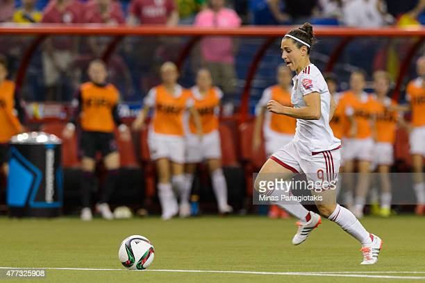 Veronica Boquete of Spain moves the ball during the 2015 FIFA Women's World Cup Group E match against Brazil at Olympic Stadium on June 13 2015 in...