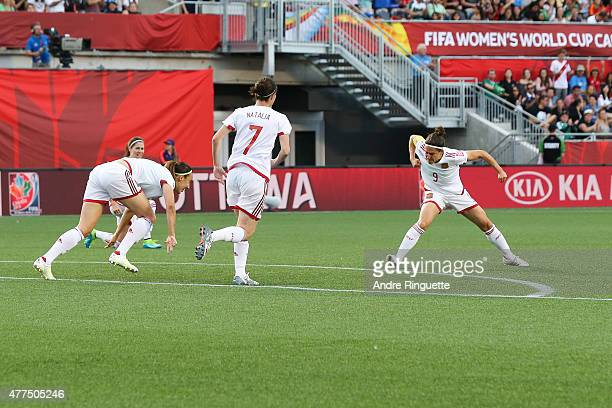 Veronica Boquete of Spain pumps her fist in celebration after scoring the opening goal of the FIFA Women's World Cup Canada 2015 Group E match...