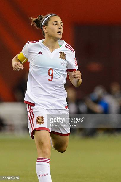Veronica Boquete of Spain runs during the 2015 FIFA Women's World Cup Group E match against Brazil at Olympic Stadium on June 13 2015 in Montreal...