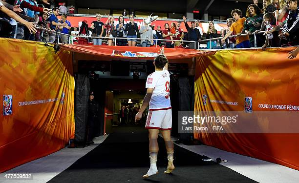 Veronica Boquete of Spain throws her shoes to the fans after loosing the FIFA Women's World Cup 2015 Group E match between Korea Republic and Spain...