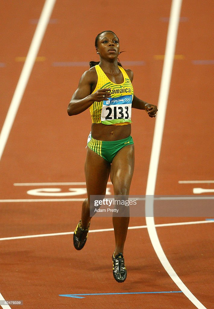 Veronica Campbell of Jamaica looks on after competing in the women's 200m semifinal at the National Stadium during Day 12 of the Beijing 2008 Olympic Games on August 20, 2008 in Beijing, China.