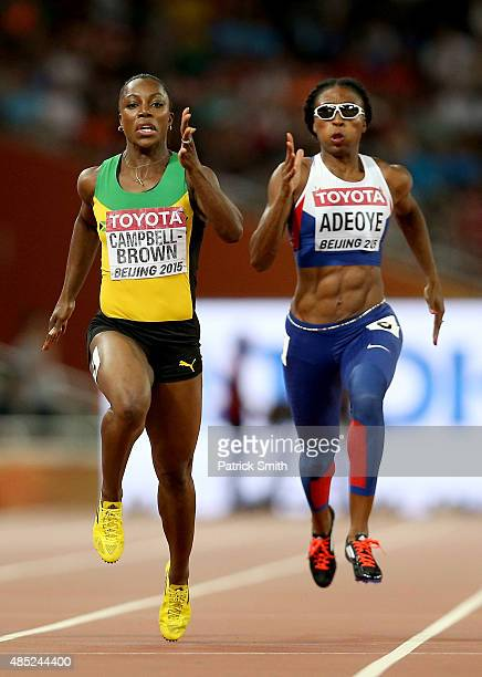 Veronica CampbellBrown of Jamaica and Margaret Adeoye of Great Britain compete in the Women's 200 metres heats during day five of the 15th IAAF World...
