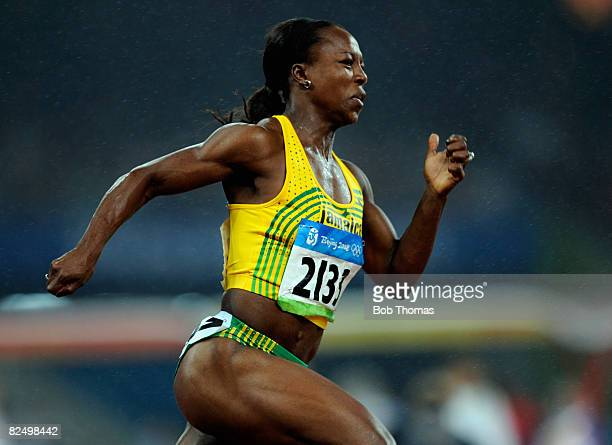 Veronica Campbell-Brown of Jamaica competes in the Women's 200m Final held at the National Stadium during Day 13 of the Beijing 2008 Olympic Games on...