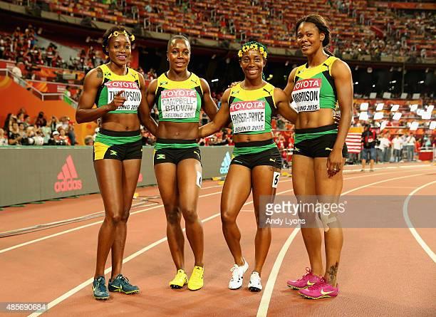 Veronica Campbell-Brown of Jamaica, Natasha Morrison of Jamaica, Elaine Thompson of Jamaica and Shelly-Ann Fraser-Pryce of Jamaica celebrate after...