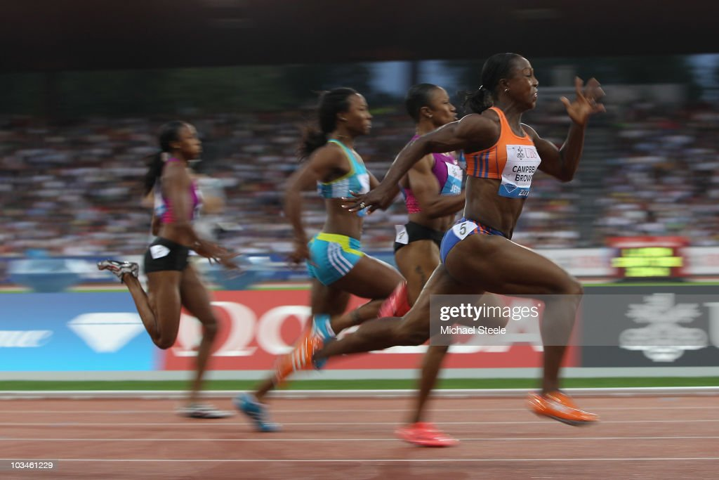 Veronica Campbell-Brown of Jamaica on her way to victory in the women's 100m during the Iaaf Diamond League meeting at the Letzigrund Stadium on August 19, 2010 in Zurich, Switzerland.