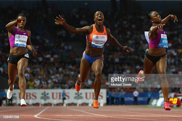 Veronica CampbellBrown of Jamaica wins the women's 100m from Carmelita Jeter of USA and Blessing Okagbare of Nigeria during the Iaaf Diamond League...