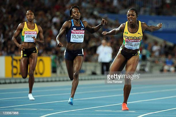 Veronica Campbell-Brown of Jamaica wins the women's 200 metres final ahead of Shalonda Solomon of the USA during day seven of 13th IAAF World...