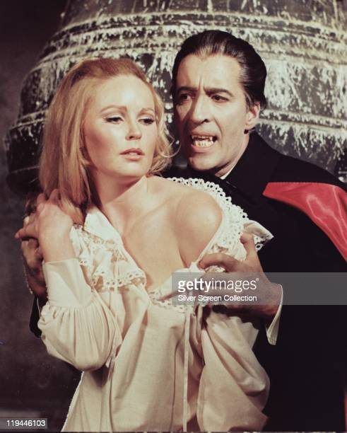 Veronica Carlson British actress with Christopher Lee British actor as Lee goes on the attack in a publicity portrait issued for the film 'Dracula...