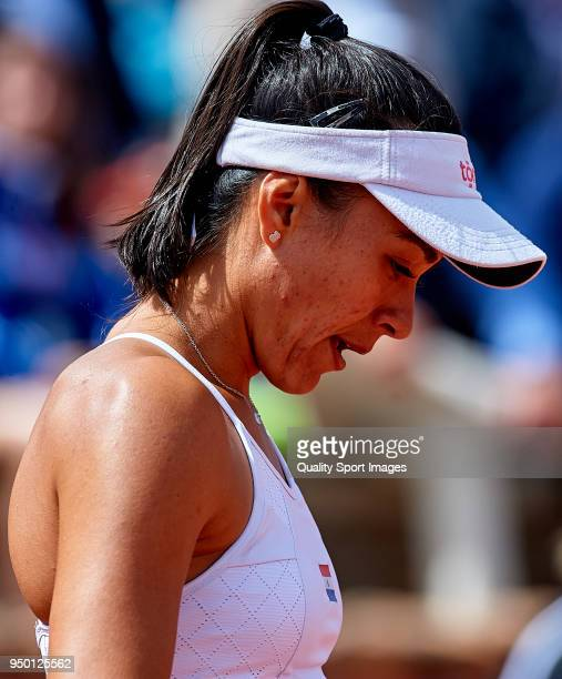 Veronica Cepede of Paraguay in action during the match againts Garbine Muguruza of Spainduring day two of the Fed Cup by BNP Paribas World Cup Group...