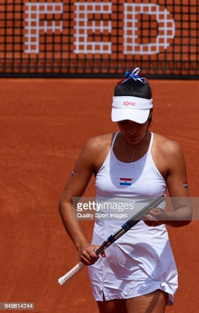 Veronica Cepede of Paraguay in action in her match against Carla Suarez during day one of the Fed Cup by BNP Paribas World Cup Group II match between...