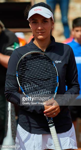 Veronica Cepede of Paraguay pose for a photo before her match against Garbine Muguruza of Spain during day two of the Fed Cup by BNP Paribas World...