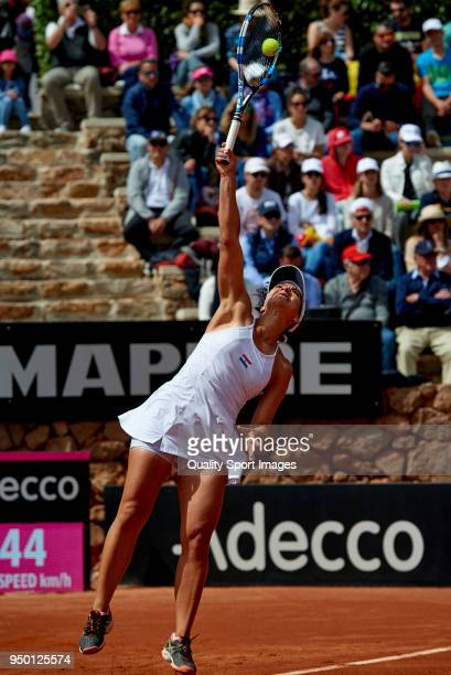 Veronica Cepede of Paraguay serves during the match againts Garbine Muguruza of Spain during day two of the Fed Cup by BNP Paribas World Cup Group II...