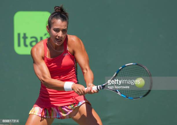 Veronica Cepede Royg in action during the second day of the qualifying round of the 2017 Miami Open on March 21 at Tennis Center at Crandon Park in...