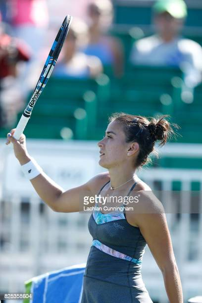 Veronica Cepede Royg of Paraguay acknowledges the crowd after a win in her match against Kristie Awn of the United States during day 2 of the Bank of...