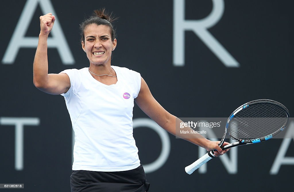 Veronica Cepede Royg of Paraguay celebrates winning match point in her second round match against Andrea Petkovic of Germany during day one of the 2017 Hobart International at Domain Tennis Centre on January 10, 2017 in Hobart, Australia.