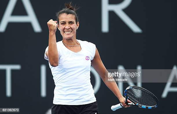 Veronica Cepede Royg of Paraguay celebrates winning match point in her second round match against Andrea Petkovic of Germany during day one of the...