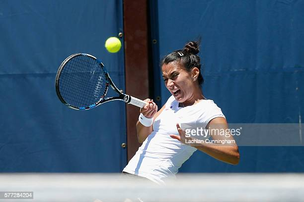 Veronica Cepede Royg of Paraguay competes against Nao Hibino of Japan during day one of the Bank of the West Classic at the Stanford University Taube...